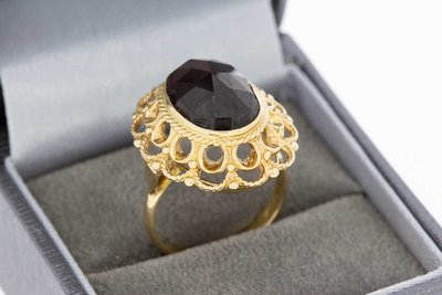14 Karaat geel gouden Vintage Markies ring met Granaat