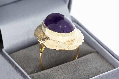 14 Karaat gouden Markies ring met Amethist (19,7 mm)
