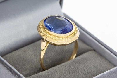 14 Karaat gouden Markies ring met Aquamarijn - 18,3 mm