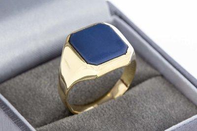 14 karaat gouden Zegelring met blauwe Lagensteen- 19,1 mm
