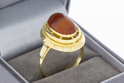 14 Karaat geel gouden Markies ring gezet met Agaat