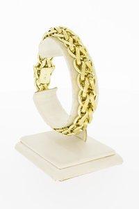 14 Karaat geel gouden grove gevlochten armband - 20,5 cm