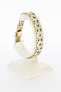 14 Karaat bicolor gouden Staafjes armband - 20,4 cm