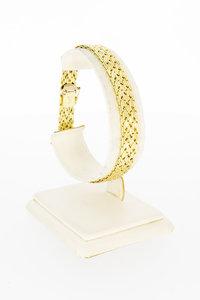 14 Karaat gouden gevlochten Staafjes armband-19,4 cm