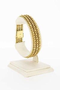 14 Karaat geel gouden gevlochten brede armband - 19,3 cm
