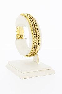 18 Karaat gouden gevlochten dubbele armband - 18 cm