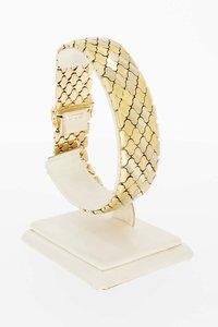 14 Karaat gouden gefigureerde brede armband - 21 cm