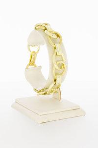 14 Karaat geel gouden grove schakelarmband - 20 cm