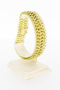 14 Karaat gouden gevlochten brede schakelarmband - 22 cm
