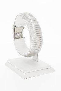 18 Karaat wit gouden brede Plaatjes armband - 19,1 cm