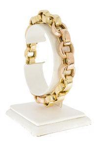 18 Karaat bicolor gouden Jasseron schakel armband - 20 cm