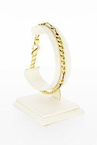 14 Karaat bicolor gouden Open Gourmet armband - 21 cm