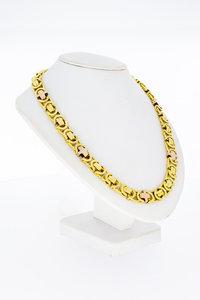 18 Karaat bicolor gouden Koning schakelketting - 67 cm