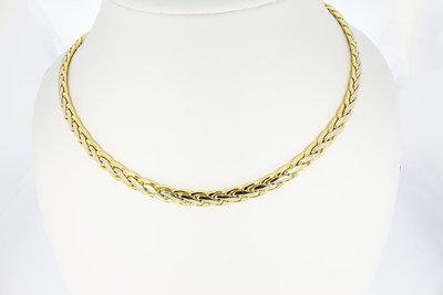 18 karaat bicolor gouden Vossenstaart Collier - 44,6 cm