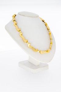 """18 Karaat geel gouden Schakel Collier """"Platte W"""" - 44,5 cm"""