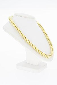 18 Karaat geel gouden Ribben schakel Collier - 46 cm