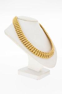 18 Karaat geel gouden gevlochten schakel Collier - 41,7 cm