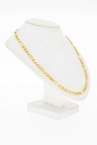 14 Karaat geel gouden Figaro schakel Collier - 45,6 cm