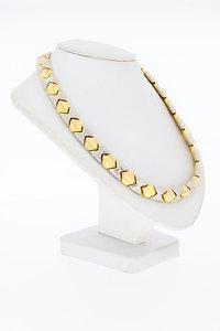 18 Karaat bicolor gouden Fantasie schakel Collier - 42,7 cm
