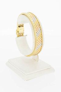 18 Karaat tricolor gouden Matjes schakelarmband- 18,3 cm