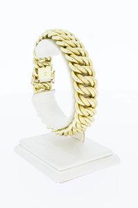 14 Karaat geel gouden gevlochten brede armband - 20 cm