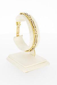 14 Karaat bicolor gouden Staafjes schakelarmband - 19,2 cm