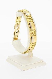 18 Karaat tricolor gouden Plaatjes schakelarmband-21,8 cm
