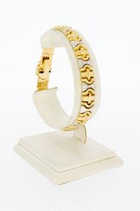 18 Karaat bicolor gouden Fantasie schakelarmband - 19 cm