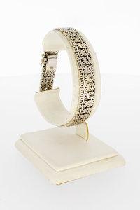 14 Karaat gouden gevlochten brede schakelarmband-19 cm