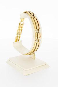14 Karaat bicolor gouden Staafjes armband - 21,5 cm
