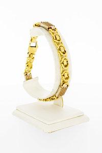 18 Karaat gouden Koningsarmband met blokken - 22,3 cm