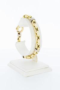 18 Karaat bicolor gouden Staafjes schakelarmband - 21 cm