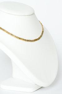 14 Karaat bicolor gouden gewalste Valkoog ketting - 42 cm