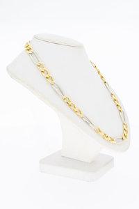 14 Karaat bicolor gouden Figaro schakelketting - 67 cm