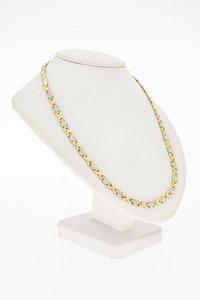 14 Karaat bicolor gouden Fantasie Koningsketting - 57 cm