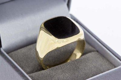 14 Karaat gouden Zegelring ring gezet met Onyx (21,3 mm)