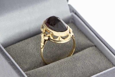 14 Karaat gouden Vintage Markies ring gezet met Granaat