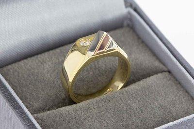14 Karaat tricolor gouden Pinkring gezet met Zirkonia (14,8)