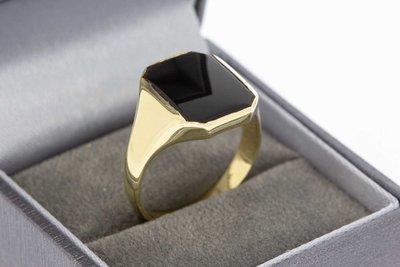 14 Karaat geel gouden Zegelring gezet met Onyx - 19,6 mm
