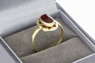 14 Karaat gouden vintage Markies ring met Carneool - 18 mm