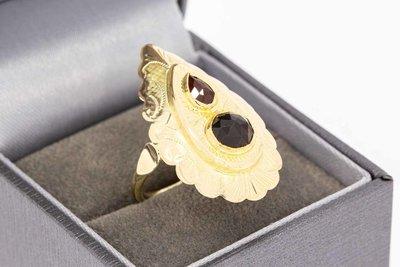 14 Karaat gouden Retro ring met Granaat - 18,3 mm