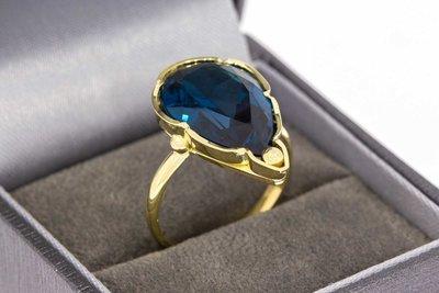 14 Karaat gouden Retro ring met blauwe Topaas - 18,2 mm
