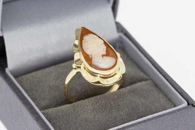 14 Karaat geel gouden Vintage camee ring - 18,4 mm