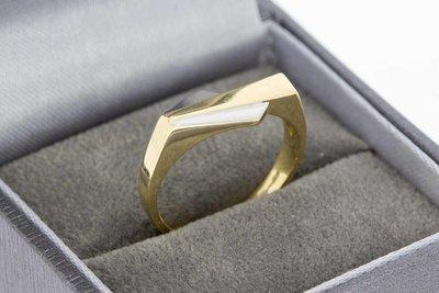 14 Karaat bicolor gouden Statement ring (ringmaat 17,6)