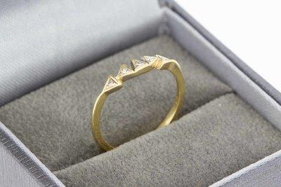 14 Karaat gouden Aanschuifring gezet met Diamant - 16,1