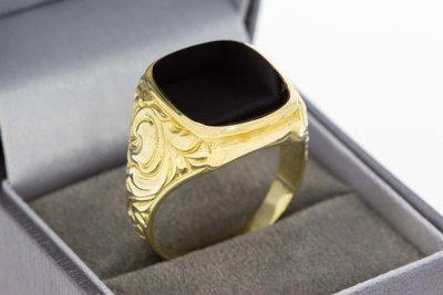 14 Karaat geel gouden Zegelring met Onyx - 21,6 mm