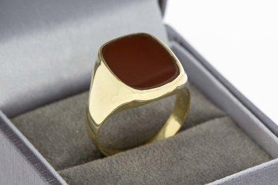 14 Karaat gouden Zegelring met rode Carneool - 19,2 mm
