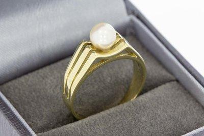 14 Karaat geel gouden ring gezet met cultivé Parel
