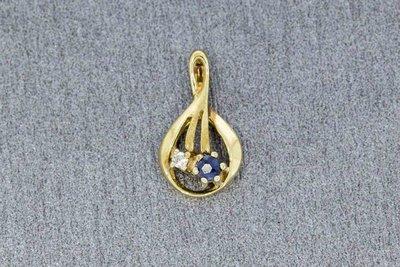 8 Karaat (geel) Kettinghanger gezet met Diamant en Saffier