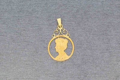 Gedeeltelijk 21 Karaat geelgouden Munt hanger `Wilhelmina`